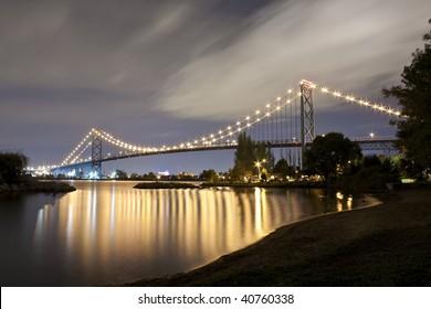 Ambassador Bridge after dusk.