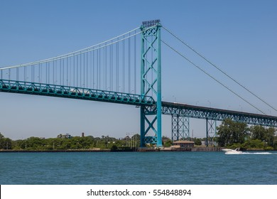 Ambassador Bridge between Windsor, Ontario and Detroit, Michigan