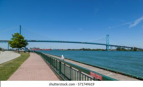 Ambassador Bridge between Windsor, Ontario, Canada and Detroit, Michigan, USA on June 17, 2016.