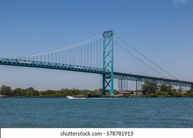 Ambassador Bridge between Windsor, Ontario, Canada and Detroit, Michigan, USA