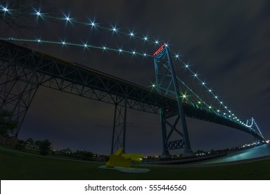 Ambassador Bridge connecting Windsor, Ontario to Detroit Michigan at night
