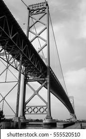 Ambassador Bridge of Detroit City, Windsor, Ontario. Black and White.