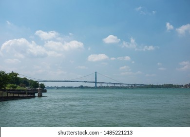 Ambassador Bridge suspension bridge across the Detroit River connecting Windsor, Ontario, Canada and Detroit, Michigan, USA.