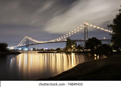 Ambassador Bridge from Windsor, Canada