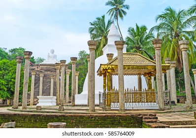 The Ambasthala Dagoba and Statue of Lord Buddha located in Mihintale Temple, the cradle of Buddhism in Sri Lanka.