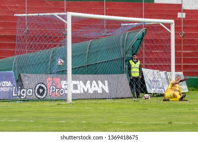 Ambato, Ecuador - April 13. 2019: Match by Liga Pro - Banco Pichincha between the Macará and Mushuc Runa. Exact moment in which the goal of the tie is made by Galo Corozo del Macará at minute 74.