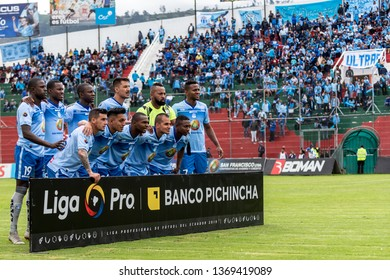 Ambato, Ecuador - April 13. 2019: Match by Liga Pro - Banco Pichincha between the Macará and Mushuc Runa. This is the starting line-up with which the Club Deportivo Macará started the match.