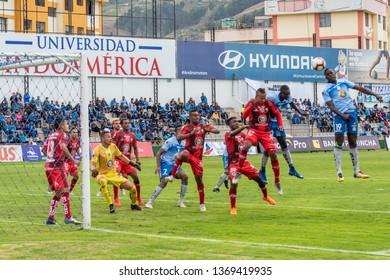 Ambato, Ecuador - April 13. 2019: Match by Liga Pro - Banco Pichincha between the Macará and Mushuc Runa. The Macará sports club is looking for victory.