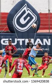 Ambato, Ecuador - April 13. 2019: Match by Liga Pro - Banco Pichincha between the Macará and Mushuc Runa. Argentine striker Flavio Ciampichetti looks for the aerial play to reach the winning goal.