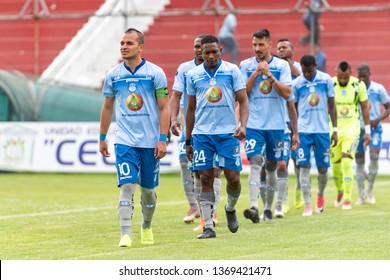 Ambato, Ecuador - April 13. 2019: Match by Liga Pro - Banco Pichincha between the Macará and Mushuc Runa. The match begins and the Macará Club Deportivo team goes to the Bellavista stadium in Ambato.