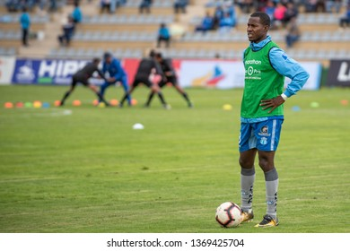 Ambato, Ecuador - April 13. 2019: Match by Liga Pro - Banco Pichincha between the Macará and Mushuc Runa. During the warm up we see the player Leonel Quiñónez indispensable player in the team.