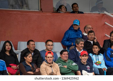 Ambato, Ecuador - April 13. 2019: Match by Liga Pro - Banco Pichincha between the Macará and Mushuc Runa. The Bellavista stadium grandstand presents fans from one hour before the start of the match.