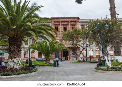Ambato, Ecuador, April 2018: Colegio Nacional Bolivar, one of the most important in the city of Ambato, with its main facade of brown rock.