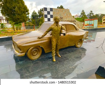 """Ambato, Ecuador - August 16, 2019: Monument to Luis """"loco"""" Larrea.Among his many merits, Larrea (1921-1994) is remembered for being three times champion of the return to the Republic of Ecuador"""