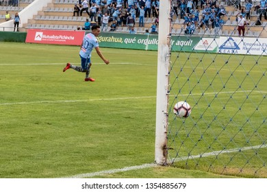 Ambato, Ecuador - March 30. 2019: Match by Liga Pro - Banco Pichincha in the city of Ambato between the Macará and U. Católica teams. Roland Champang's goal in the 2 minute after a powerful kick-off.
