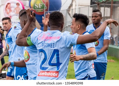Ambato, Ecuador - March 30. 2019: Match by Liga Pro - Banco Pichincha in the city of Ambato between the Macará and U. Católica teams. Celebration of the goal by Champang for the 1 to 0 of Macará.