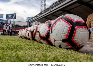 Ambato, Ecuador - March 30. 2019: Match by Liga Pro - Banco Pichincha in the city of Ambato between the Macará and U. Católica teams. Balls ready before the game.