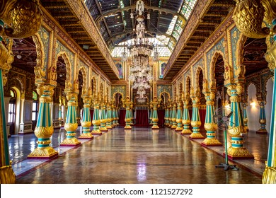 "The ""Ambavilasa"" hall inside the royal Palace, Mysore, Karnataka, India. Photographed on 18-June-2018"