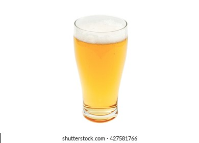 amber beer in pint glass isolated on white background