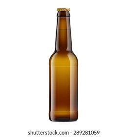 Amber Bottle With Beer with Crown Cap. Isolated on White Background.