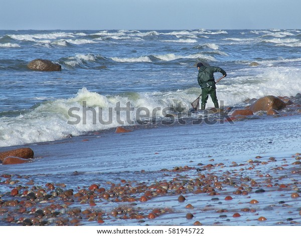 Amber catchers on the Baltic sea