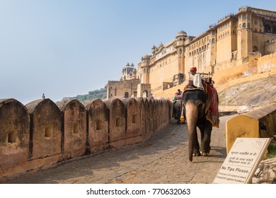 Amber Fort Jaipur India - November 4 2014 - Amer Fort is a fort located in Amer, Rajasthan, India. Located high on a hill, it is the principal tourist attraction in the Jaipur area.