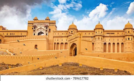 Amber Fort at Jaipur Rajasthan. Amer Fort is a primary tourist attraction and UNESCO World Heritage site at Rajasthan, India.