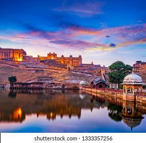 Amber Fort and Maota Lake at sunset.  Jaipur, Rajasthan, India, Asia