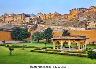Amber Fort near Jaipur in Rajasthan, India. Amber Fort is the main tourist attraction in the Jaipur area.