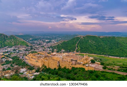 Amber Fort view from top of Jaigarh Fort, Jaipur, Rajasthan.