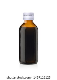 Amber glass bottle of Brown mixture for relieves cough, text on white cap means This way to break seal and to open, isolated on white background, Clipping path.