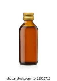 Amber glass bottle of liquid medicine with gold cap  isolated on white background, Clipping path.