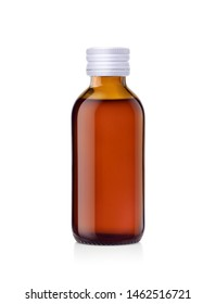 Amber glass bottle of liquid medicine with white cap  isolated on white background, Clipping path.