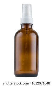 Amber glass bottle with spray. White isolated background. Mockup and copy space available.