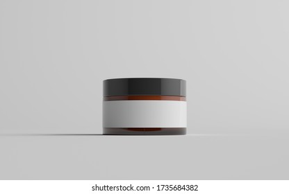 Amber Glass Cosmetic Jar Mockup - One Jar. Blank Label