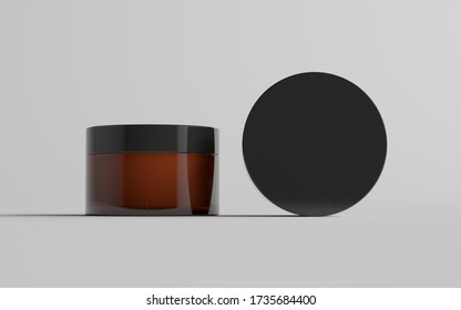 Amber Glass Cosmetic Jar Mockup - Two Jars
