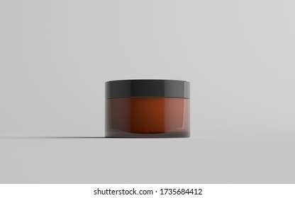 Amber Glass Cosmetic Jar Mockup - One Jar