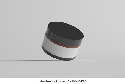 Amber Glass Cosmetic Jar Mockup - One Jar. Blank Label