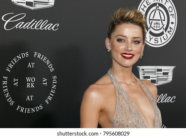 Amber Heard at the Art Of Elysium's 11th Annual Heaven Celebration held at the Barker Hangar in Santa Monica, USA on January 6, 2018.