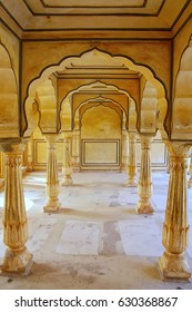 AMBER, INDIA - NOVEMBER 13: Sattais Katcheri Hall in Amber Fort on November 13, 2014 in Amber, India. Amber Fort is the main tourist attraction in the Jaipur area.