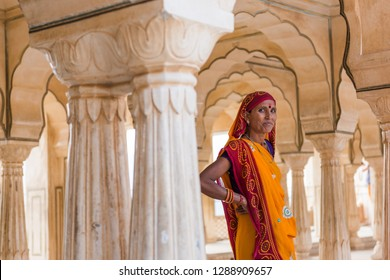 Amber, India - November 22, 2018: Portrait of adult Indian woman at Fort Amber area.