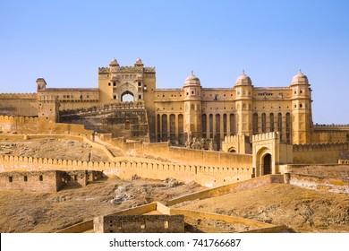 The Amber palace or fort, a famous tourist destination in the town of Amber or Amer near Jaipur in the Rajasthan state of India