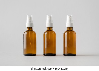 Amber Spray Bottle Mock-Up - Three Bottles