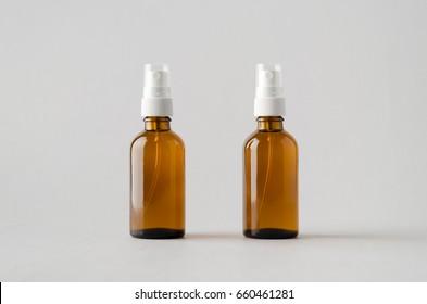 Amber Spray Bottle Mock-Up - Two Bottles