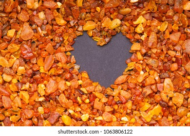Amber stones and heart shape