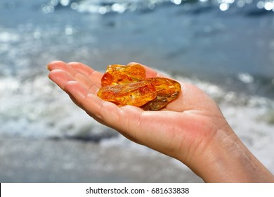 Amber. Three unique transparent piece of amber on the palm of the sea. Sunstone as a natural mineral on the beach. Amber glitter in the hand. Three amber of different forms on wave