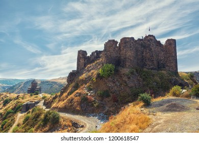 Amberd fortress and Vahramashen Church in autumn,  Armenia
