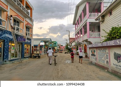 Ambergris Caye, Belize. Circa February 2009. Dirt road in downtown San Pedro island, Belize.