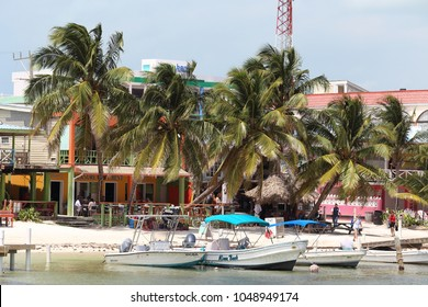 Ambergris Caye / Belize - March 17 2018: Water taxi going back and forth in Ambergris Caye