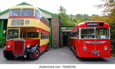 Amberley, UK - 10/08/17: 1950 Leyland Titan PD2/3 (left) and 1956 AEC Reliance (right) at Southdown Bus Garage at 2017 Autumn Historic Transport Gathering at the Amberley Museum & Heritage Centre.